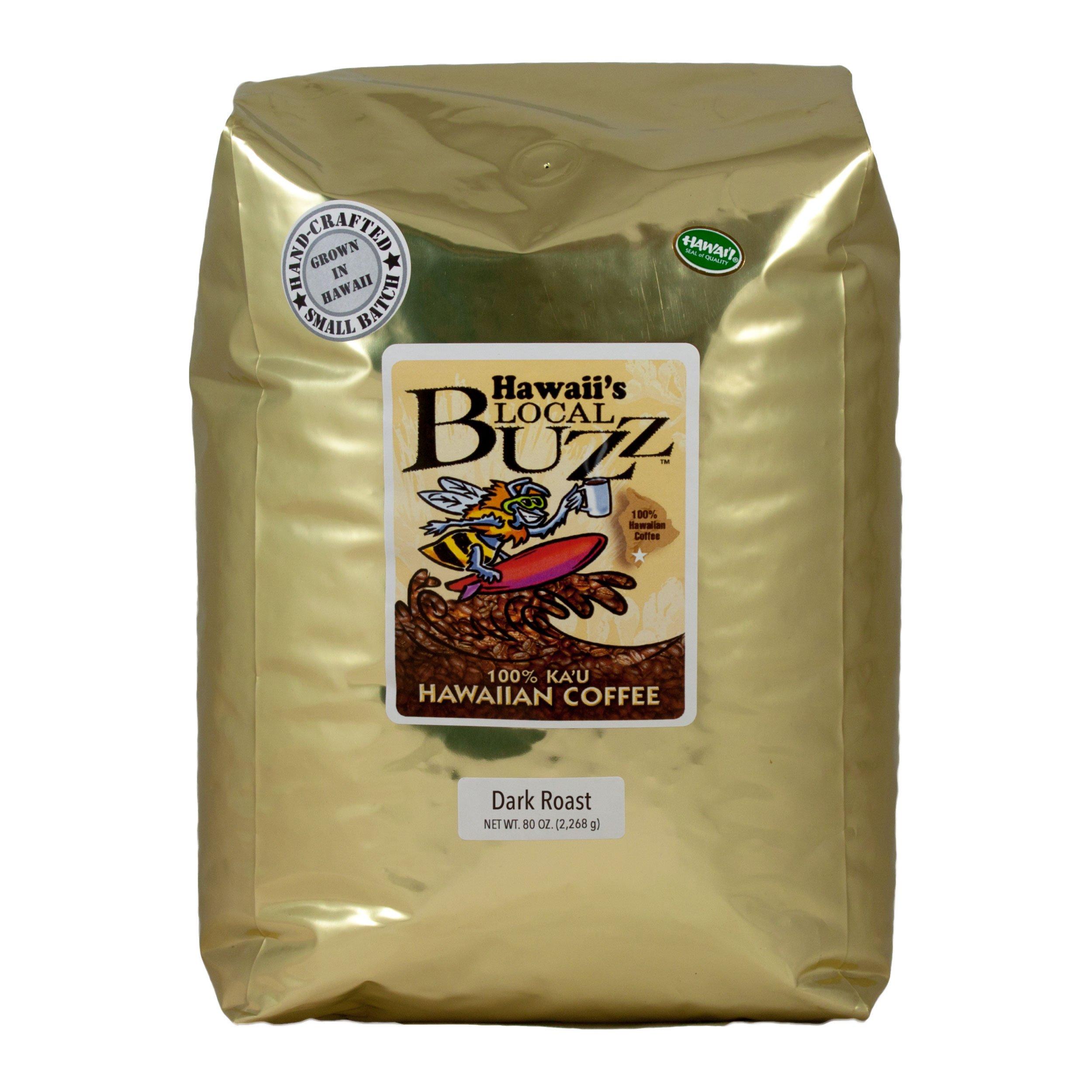 Hawaii's Local Buzz Whole Bean Coffee, Dark Roast, 80 Ounce