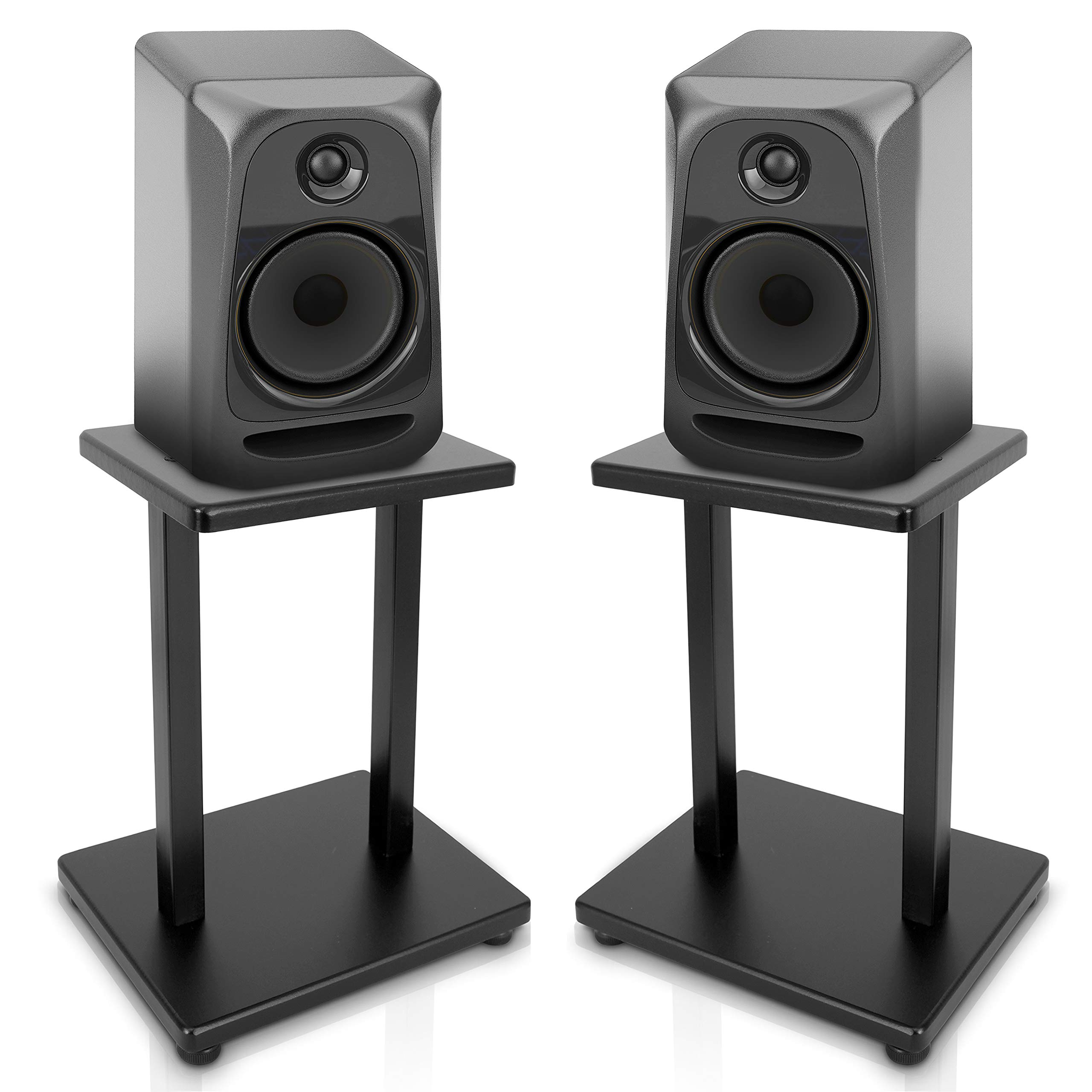 13'' Surround Sound Speaker Stands - Pro Audio Universal Heavy Duty Steel Base Top Plates w/Adjustable Base Screws - for Home System, Bookshelf, Monitor, Satellite Speakers - Pyle PSTND18.5 (Pair)