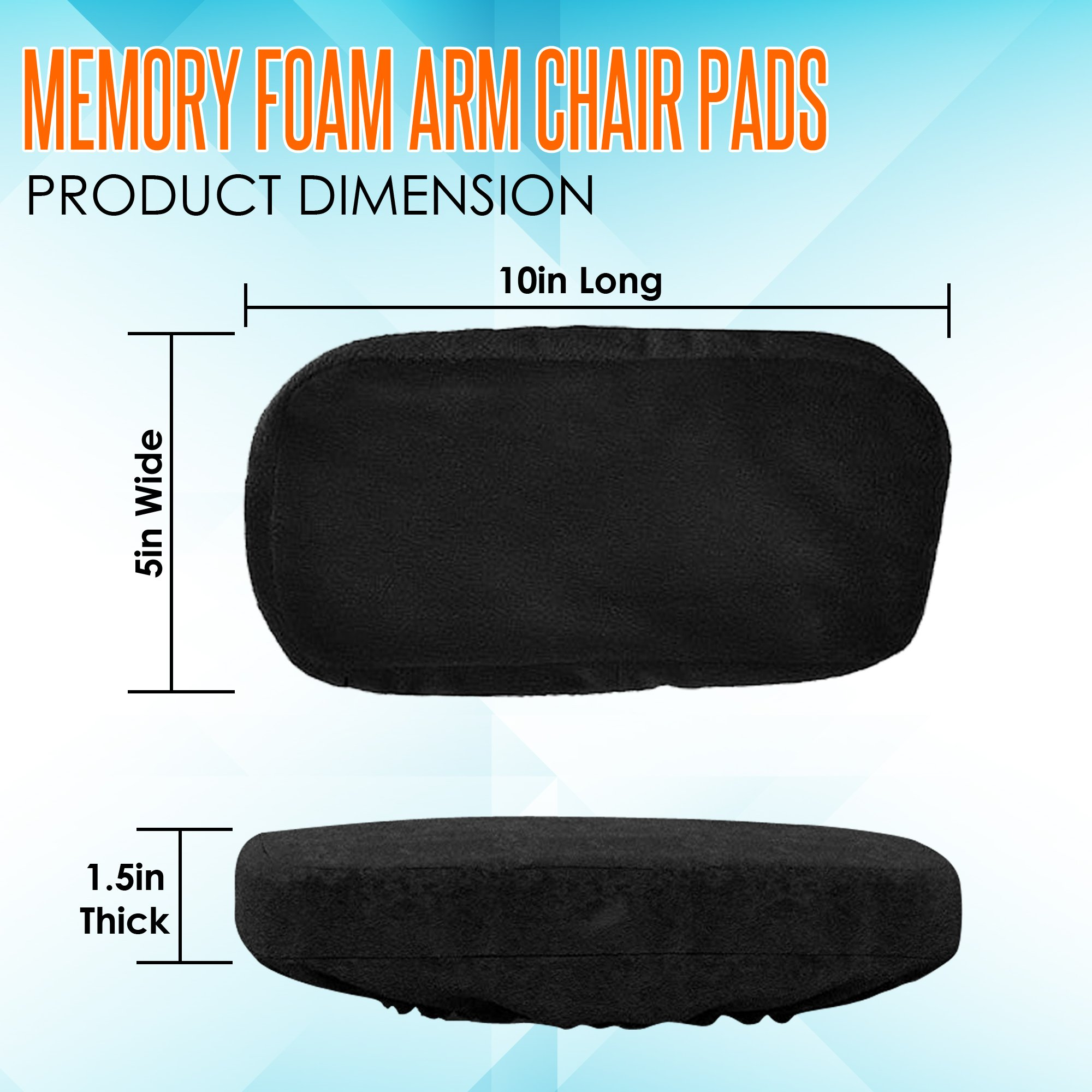 Memory Foam Arm Chair Pads for Home and Office - Perfect Density Cushions - Premium Quality - Washable Covers - Therapeutic Armrest Support - Extra Thick - Elbow & Relief - Universal Fit (Set of 2) by Grand House (Image #7)
