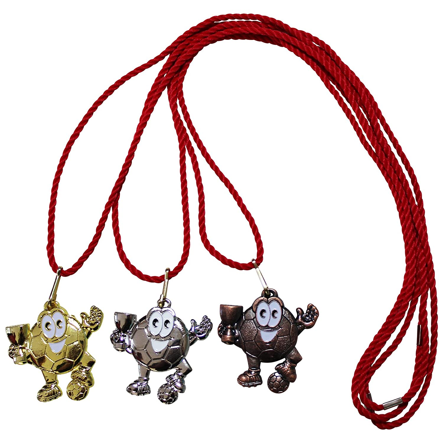 Medal Football Kids Metal Set Gold, Silver, Bronze, 5cm with Cords