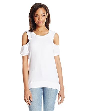 70722a6012ccb Amazon.com  Pam   Gela Women s S s Cold Shoulder Sweatshirt  Clothing