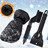 Blue Windscreen Snow Scrapers with Glove with Waterproof Warming Soft Lined Window Ice Scraper Mitten for Winter Car Care Tenrany Home Ice Scraper Mitts for Car