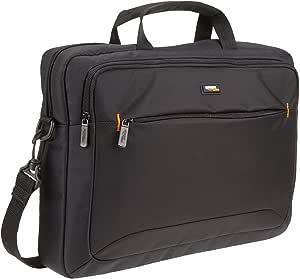 AmazonBasics - Maletín compacto para portátil con correa para el hombro y bolsillos para accesorios (15,6pulgadas, 40cm), negro, 1unidad