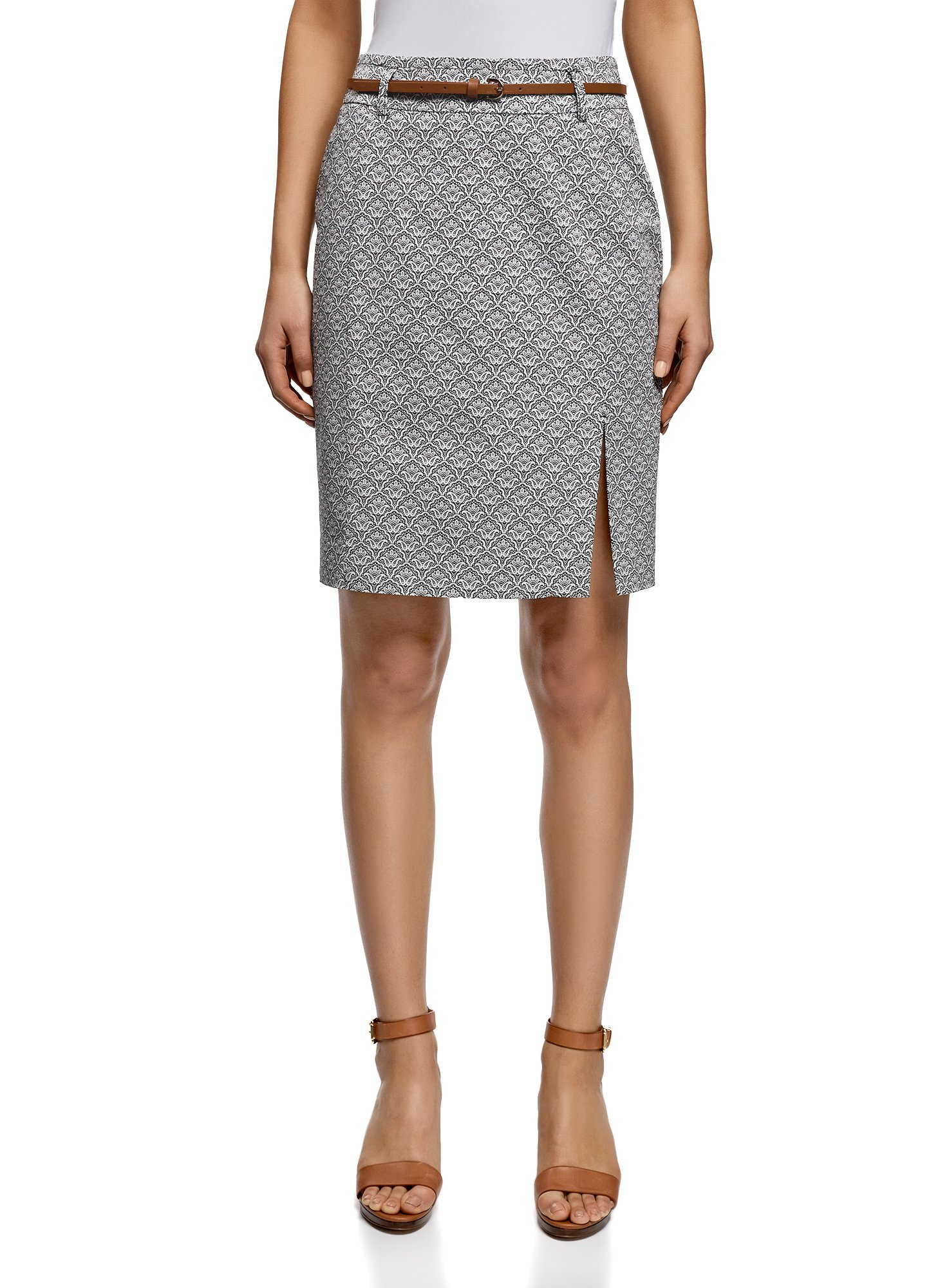 oodji Collection Women's Straight Belted Skirt, Grey, 8