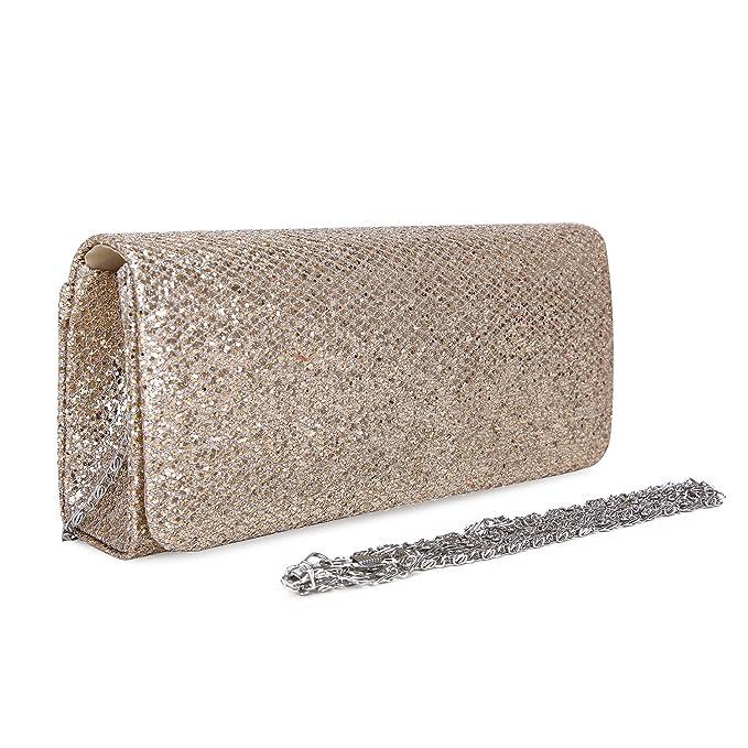 8f459cf4c01 ECOSUSI Women Flap Dazzling Evening Bag Hard Case Clutch Handbag Purse for  Women with Detachable Chain