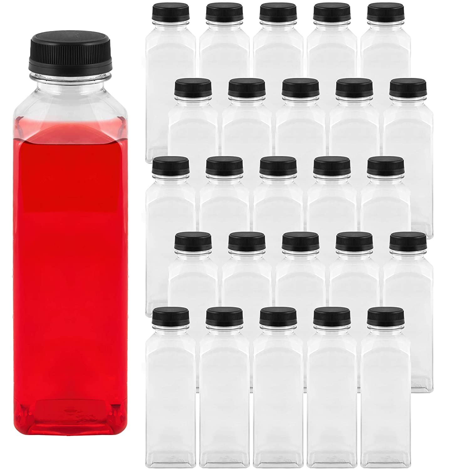 Takeout Depot - 16 oz Plastic Bottles with Caps (25 Pack) - Perfect for Your Water, Juice or Smoothie - 16oz Clear PET Plastic Containers with Lids - Small Disposable Liquids & Juicing Container