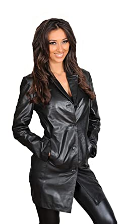 Ladies fitted black leather jacket
