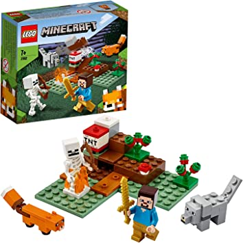 Todo para el streamer: LEGO Minecraft - La Aventura en la Taiga, Set de Construcción Inspirado en el Juego, Incluye Minifigura de Steve, Esqueleto y un Lobo de Juguete (21162)