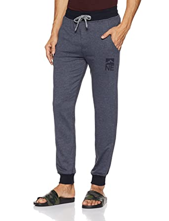 Amazon Brand - Symbol Men's Lounge Bottom (TRK17-01_Blue Melange_Small) Men's Pyjamas & Lounge Pants at amazon