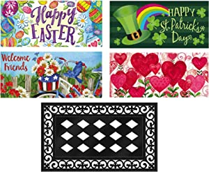 Evergreen Flag Seasonal Interchangeable Mat and Tray Collection Sassafras Mat Spring Summer Set of 5 for Garden Patio Lawn Yard Decor