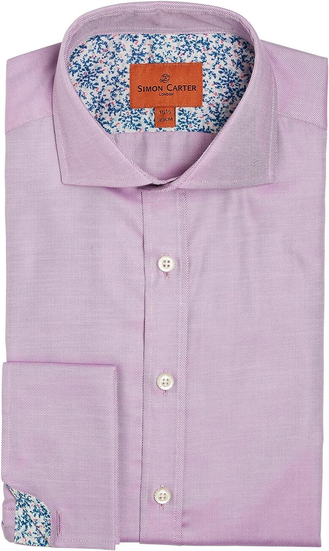 Simon Carter Sarga Doble Puño Rosa Camisa: Amazon.es: Ropa y ...