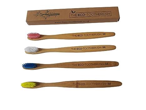 El Eco-Toothbrush con cerdas medianas – cepillo de dientes para adultos de bambú natural