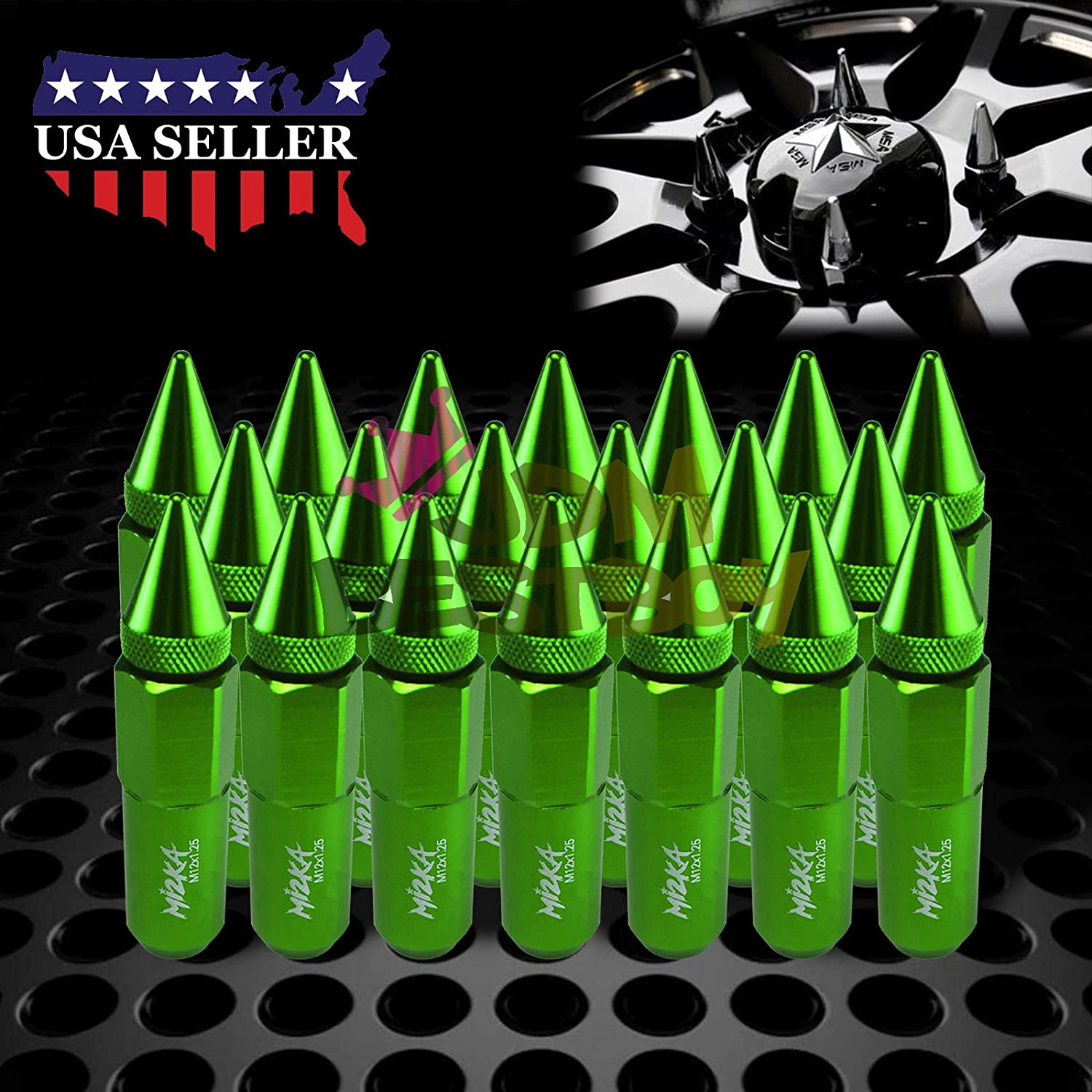 JDMBESTBOY Green 20 PCS M12x1.25 Lug Nuts Spiked 60mm Extended Tuner Aluminum Wheels Rims Cap WN03