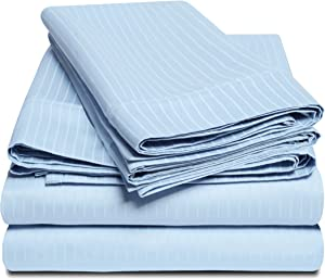 SUPERIOR 100% Egyptian Cotton Sheet Set - 1000 Thread Count Cotton Bed Sheets, Deep Pocket Sheets, Light Blue, California King Size