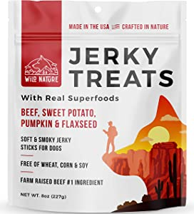 Wild Nature Beef Jerky Dog Treats - Healthy Beef Jerky Sticks with Superfoods Made in The USA - Premium Soft Dog Jerky Treats No Wheat, Corn or Soy for Medium Dogs, Large, and Small