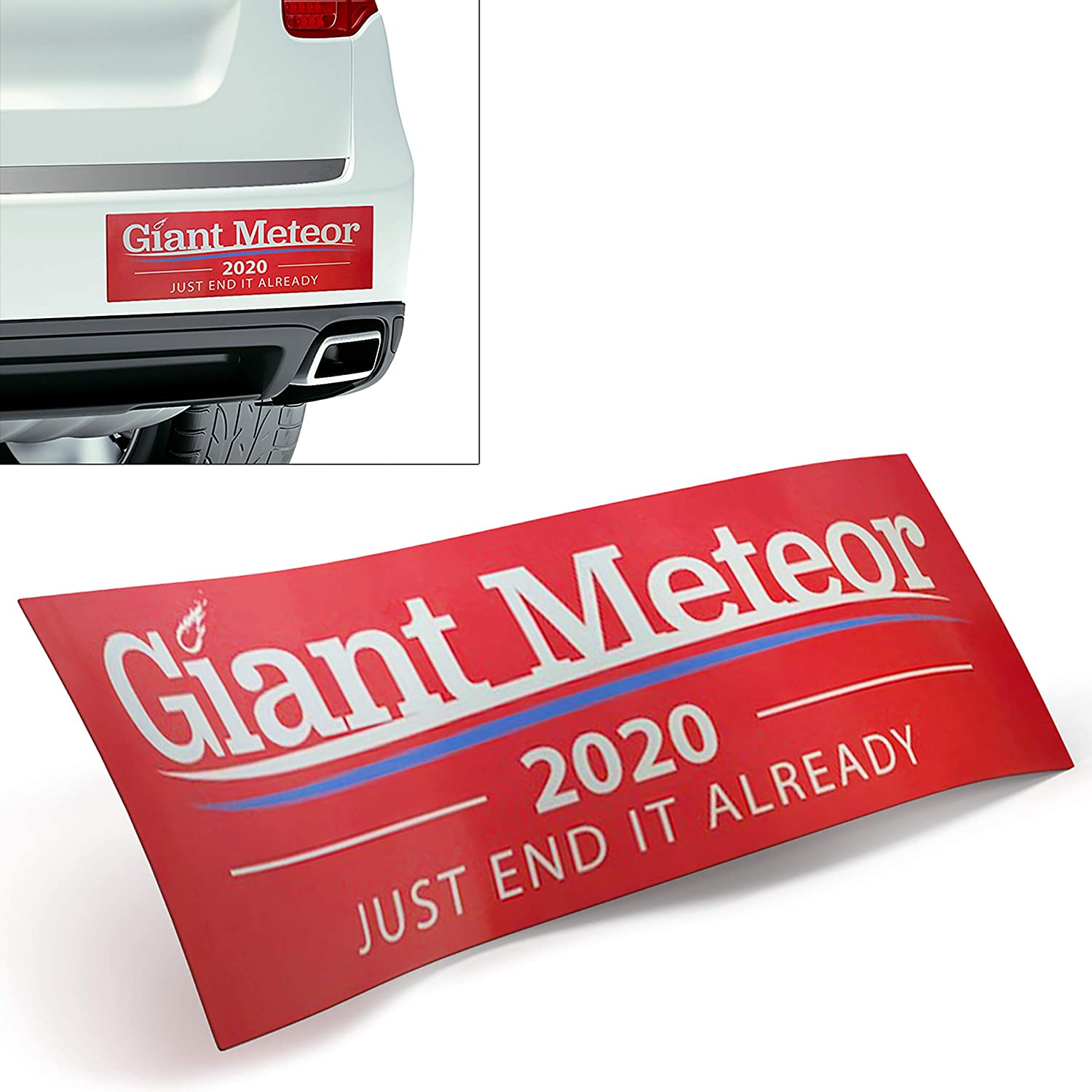 Hilarious Giant Meteor 2020 Election Year Sticker 2-Pk for Laptop, Ammo Can, Window, Truck or Car Bumper. Funny Anti-Trump, Anti-Biden Decal and Political Conversation Starter Adds Humor to Voting