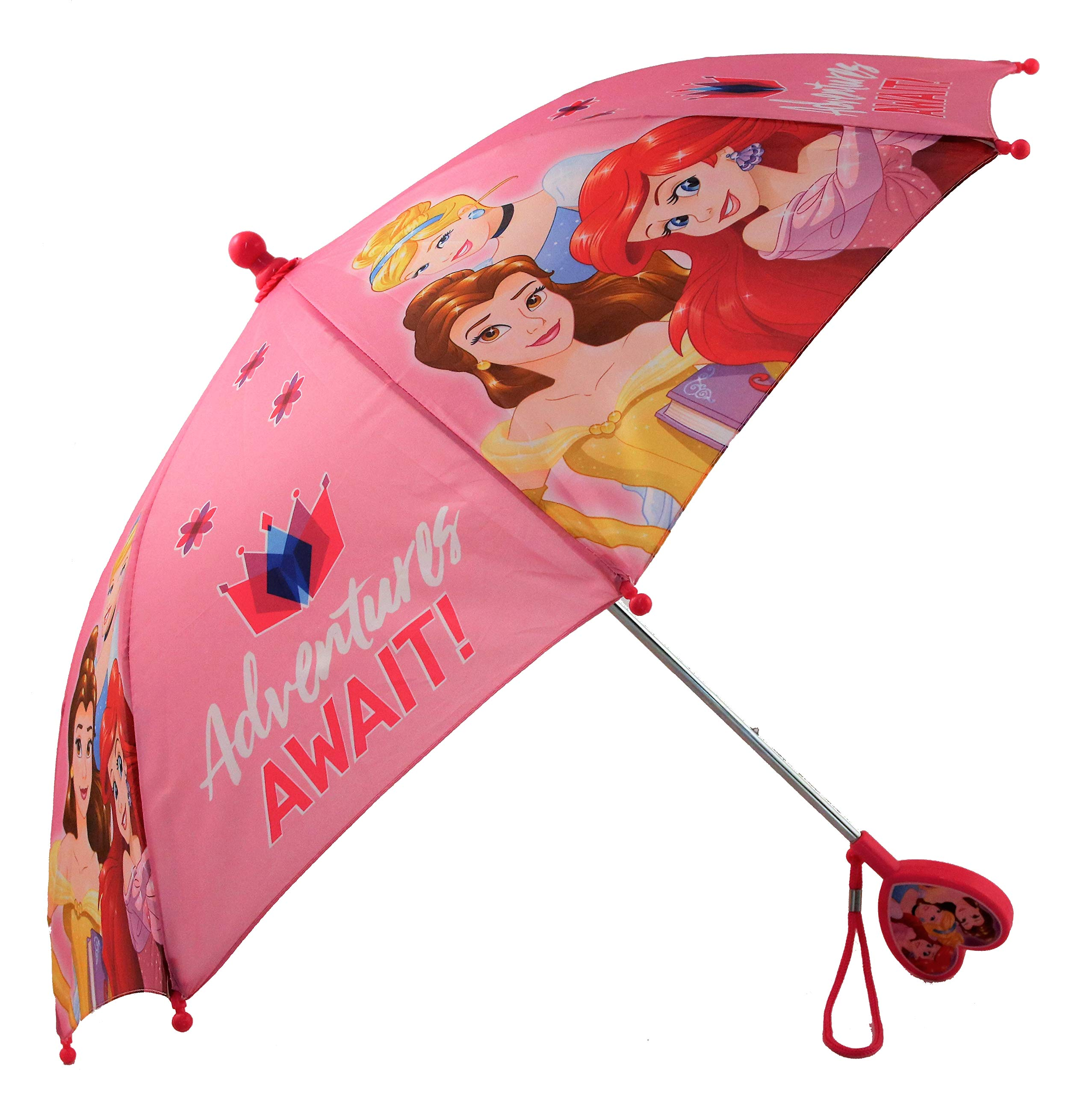 Disney Little Girls Assorted Characters Rainwear Umbrella, Pink,  Ages 3-7