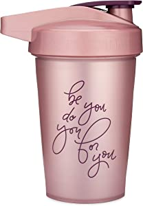 Motivational Quotes on Performa Activ Shaker Bottle, 20 Ounce Classic Protein Shaker Bottle with Loop, Leak Proof, Perfect Gym Fitness Gift (Be You Do You - Rose)