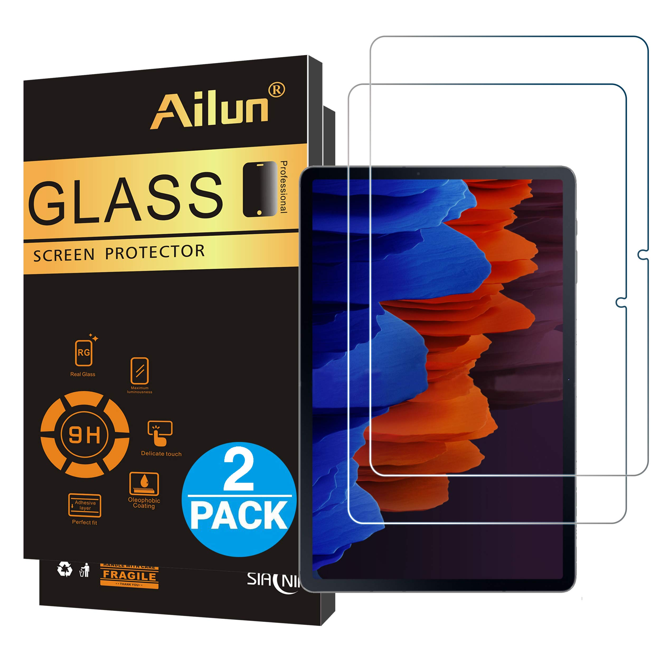 Ailun Screen Protector For Galaxy Tab S7 Plus,12.4 inch 2Pack,Galaxy Tab S7+Tempered Glass 9H Hardness 2.5D Edge Ultra Clear Anti Scratch Case Friendly