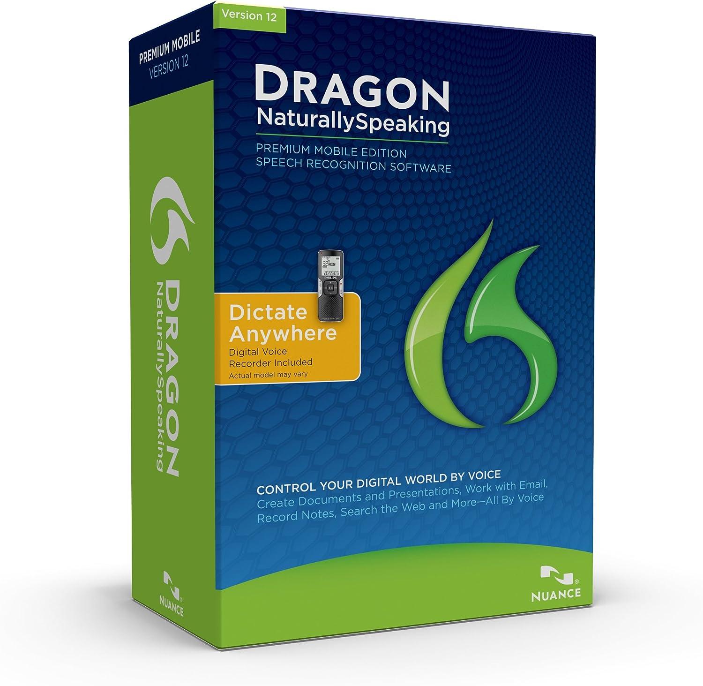 Dragon NaturallySpeaking Premium 12 with Digital Recorder, English (Old Version)