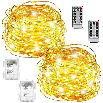 820ecd701ff Luces de hadas Funciona con pilas Impermeable 100 LED 33 pies Luces de  cuerda de hadas Alambre ...