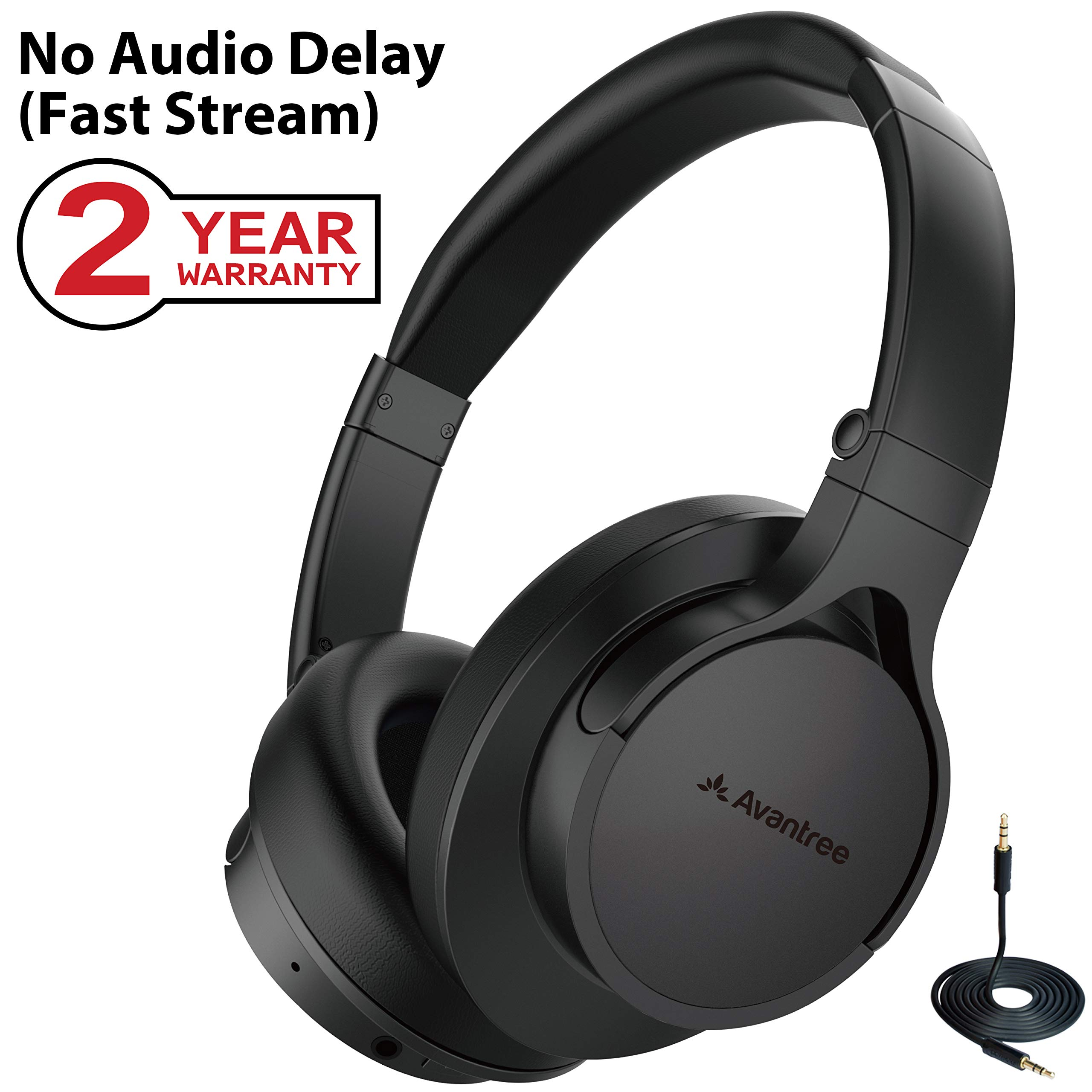 788c5645527 Avantree HS063 No Audio Delay Fast Stream Comfortable Bluetooth Headphones  Over Ear with Mic for TV