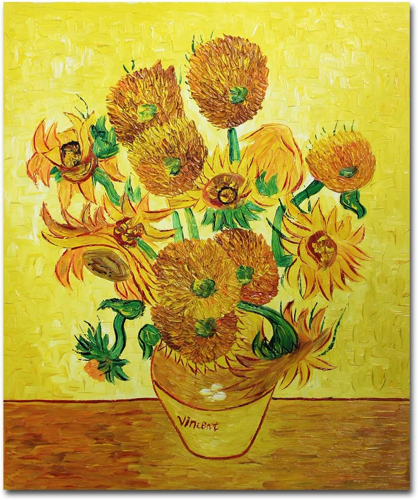 Muzagroo Art Van Gogh Sunflowers Oil Paintings Hand Painted Canvas Wall Art for Living Room 20x24in