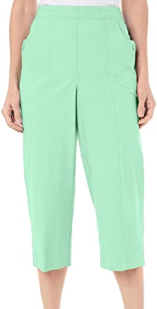 2aa27fdc1a8 Alfred Dunner Women s Ocean Drive Pull On Capri Pants White at ...