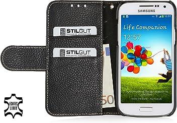 StilGut Talis Book Type custodia in vera pelle per Samsung Galaxy S4 Mini (i9195) con scomparti per carte di credito, biglietti da visita e banconote