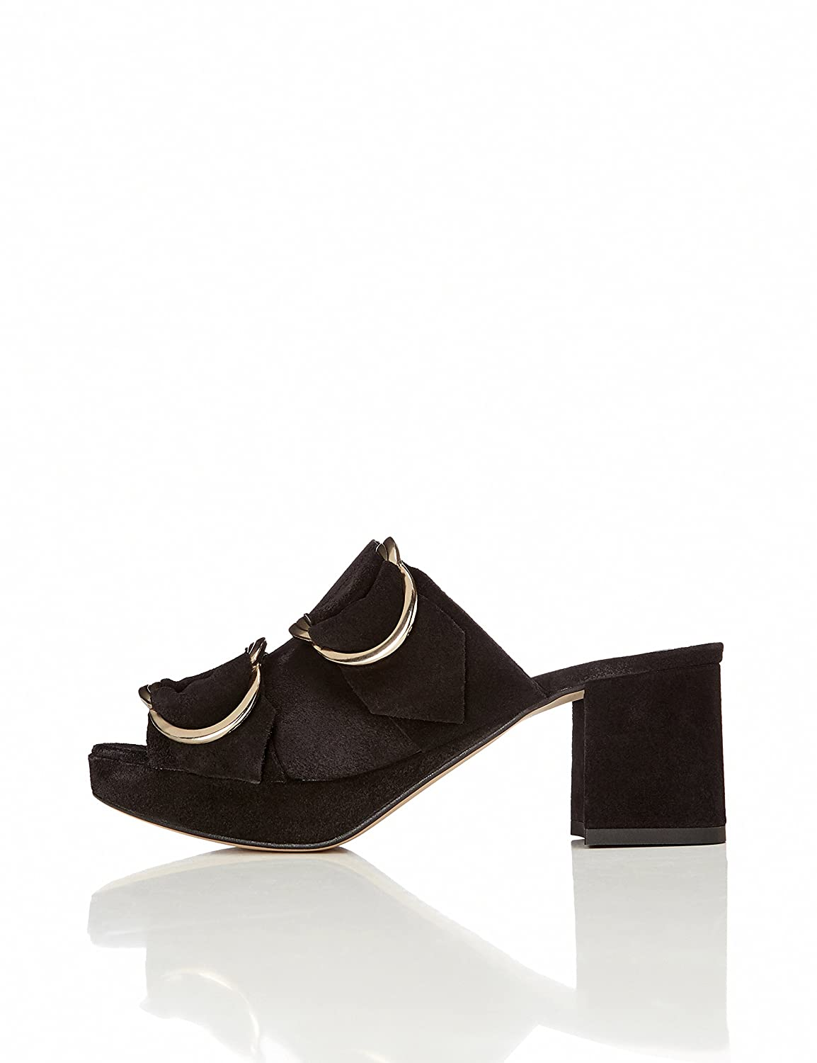 Find Women's Mules With Suede Double Buckle Detail by