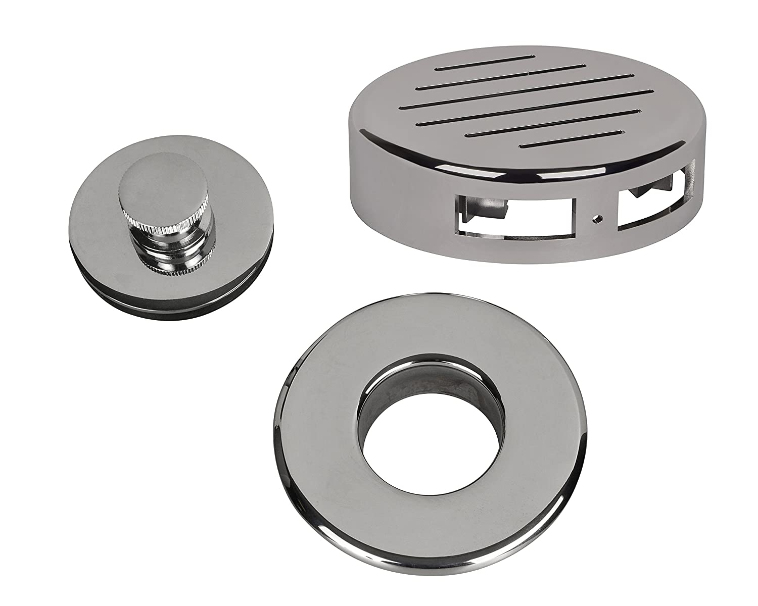 AB&A 60170 Press-In Strainer with'Classic' Overflow Plate and Push eN Lift Stopper, Chrome Finish IPSCO