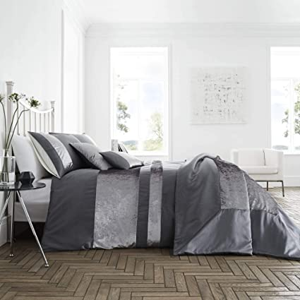 Copripiumino Elegante.Amazon Com Happy Linen Company Luxury Crushed Velvet Panel Grey