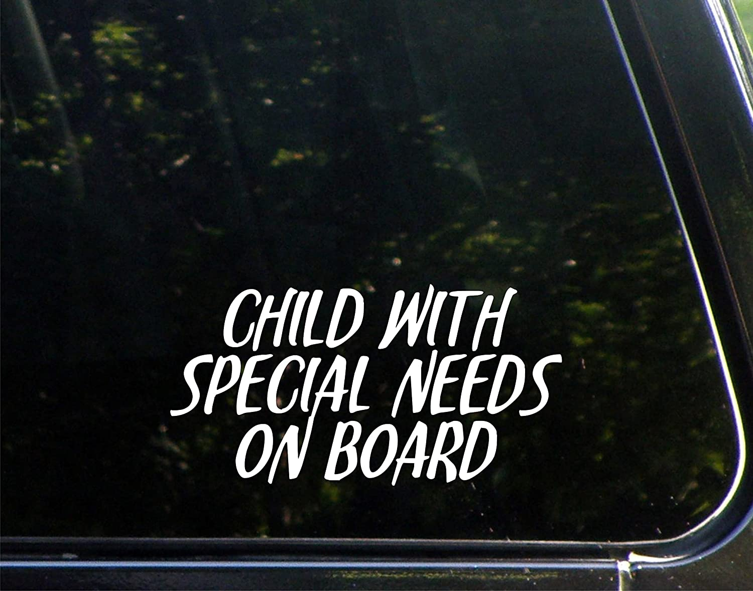 """Vinyl Productions Child with Special Needs On Board - 5-3/4"""" x 3-3/4"""" - Decal Sticker for Cell Phones,Windows, Bumpers, Laptops, Glassware etc."""