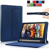 Infiland Lenovo YOGA Tablet 3 10.1インチ専用保護ケース カバー 超薄型 超軽型 スタンド機能付き 高級PUレザーケース (YOGA Tablet 3 10, ネービーブルー)