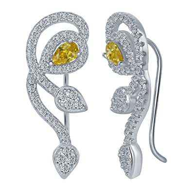 e3d19ce0c Image Unavailable. Image not available for. Color: Sterling Silver 925 Cubic  Zirconia Leaf Ear Climber Womens Earrings ...