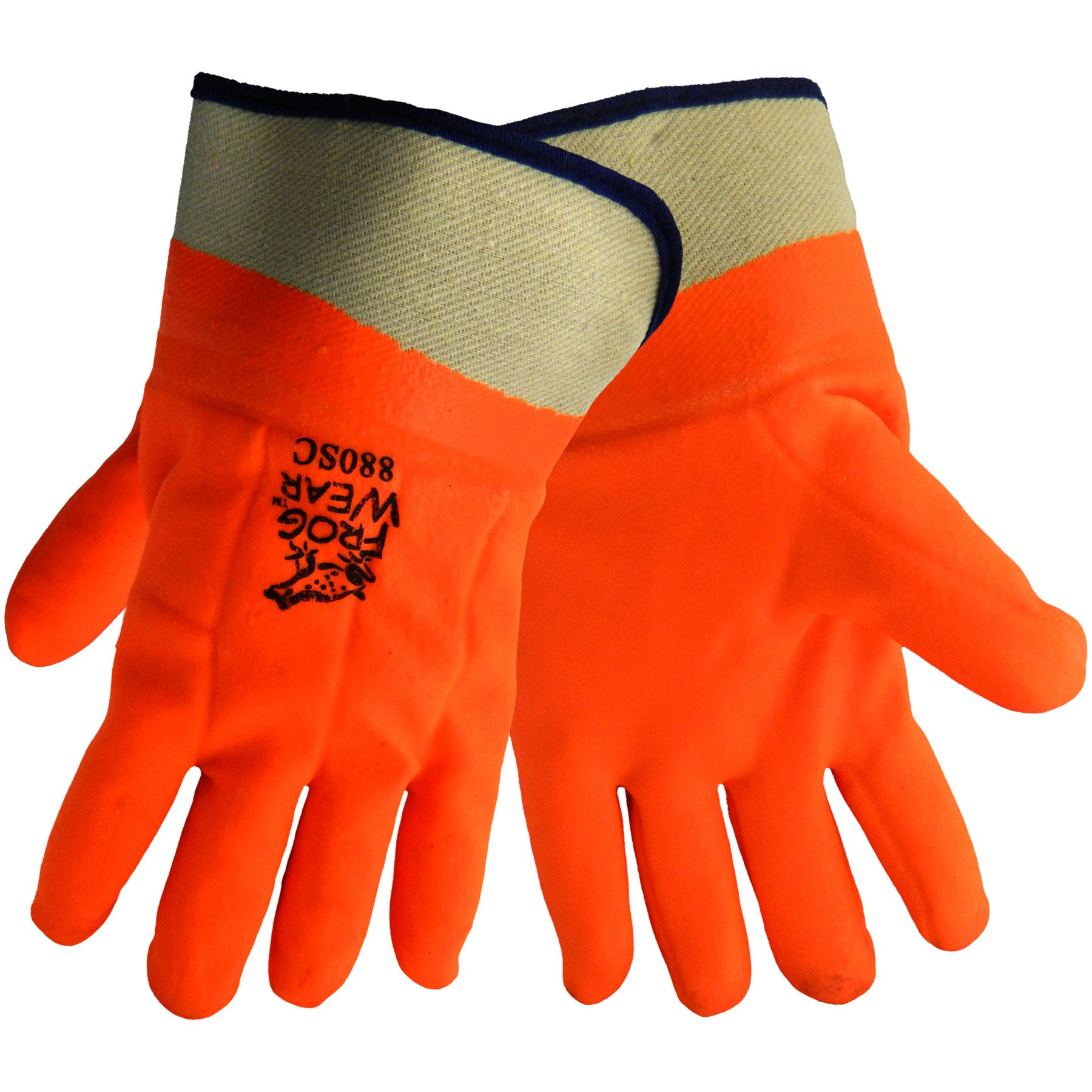 Global Glove 880SC FrogWear PVC Double Dipped High Visibility Glove with Safety Cuff, Chemical Resistent, 1 Size, Orange (Case of 72)