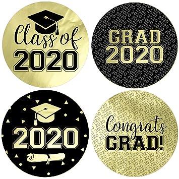 Graduation Party 2020.Class Of 2020 Graduation Party Favor Labels 1 75 In 40 Stickers Gold Foil