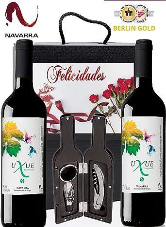 Caja Vino Tinto Regalo FELICIDADES - Pack de 2 Botellas UXUE CRIANZA Edicion Limitada MEDALLA BERLIN 2015 + Kit Accesorios con Estuche - Ideal para regalar en Ocasiones Especiales.: Amazon.es: Alimentación y bebidas