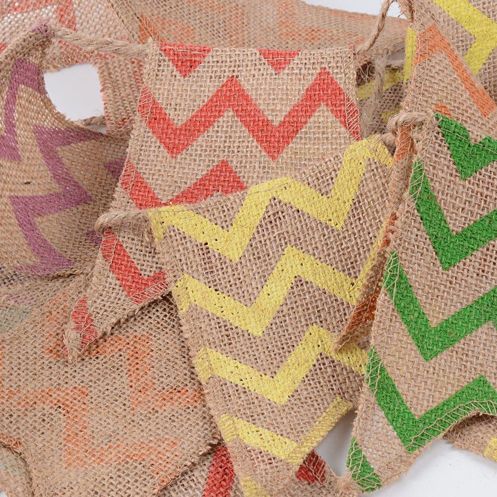 BUONDAC 2pcs Guirnaldas Banderines Banderitas Tela de Lino Decoraci/ón Fiesta Cumplea/ños Boda Bautizo Jard/ín Hogar Banderas Triangulares Onda de Colores