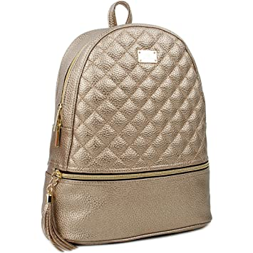 3bab5415cf7 Amazon.com   Copi Women s Simple Design Deluxe fashion Quilted small  Backpacks Deep Gold   Casual Daypacks