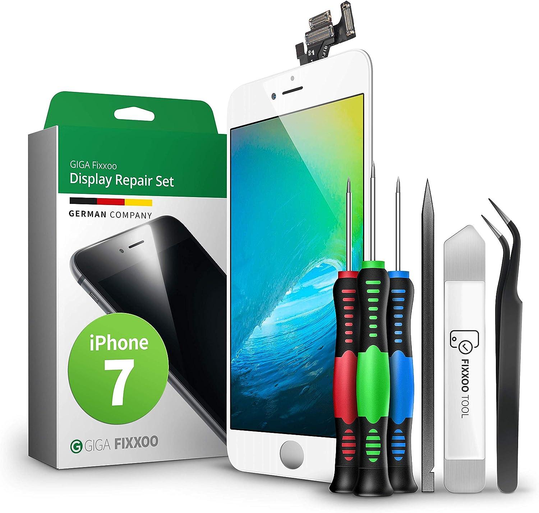GIGA Fixxoo Kit Completo de Reemplazo de Pantalla iPhone 7 LCD Blanco; con Touchscreen, Cristal Retina Display, cámara y Sensor de proximidad - Fácil ...