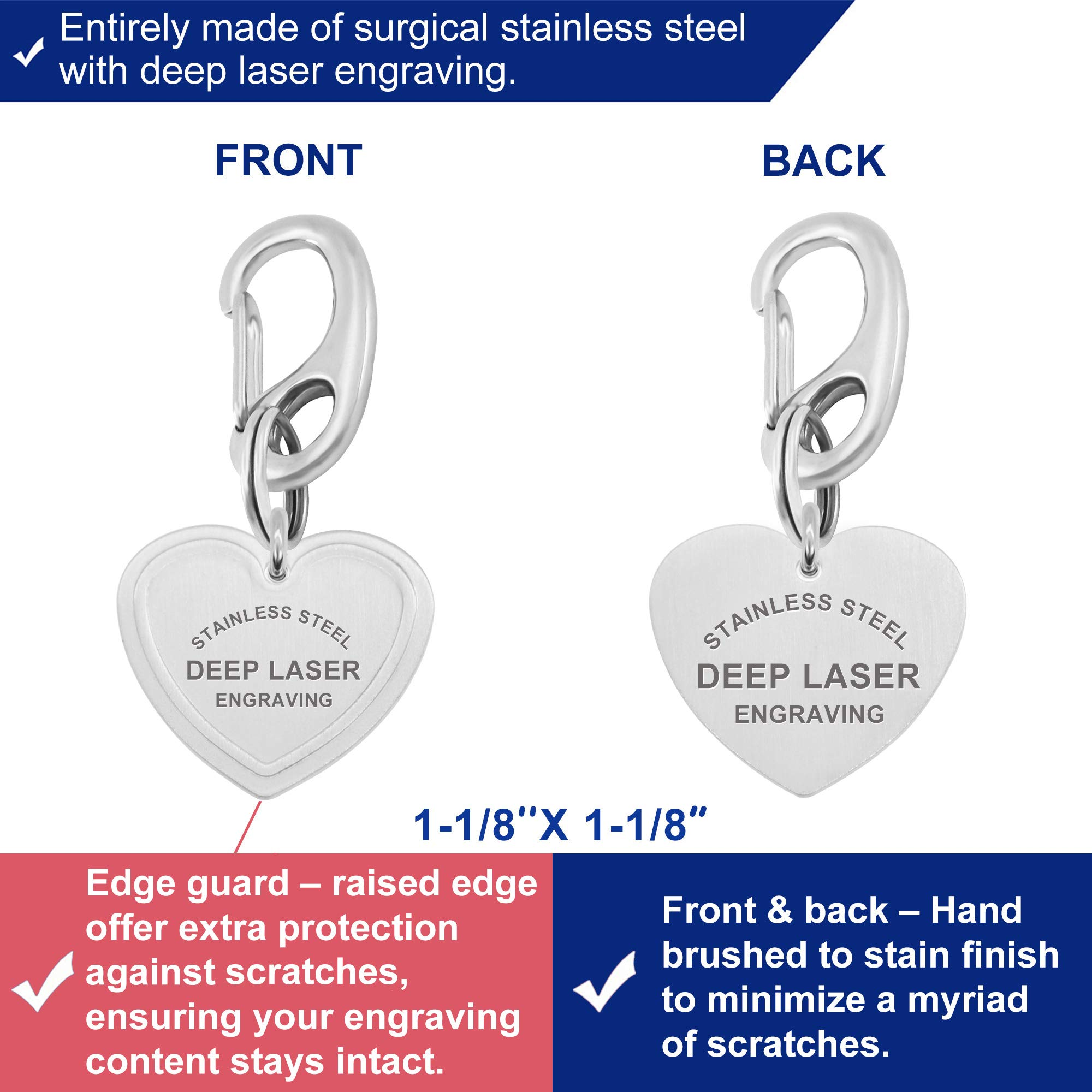 Divoti Stainless Steel Pet ID Tags, Custom DEEP Laser Engraved Dog Tags & Cat Tags w Standard Quick Clip– Engravable Front and Back (Up to 8 Lines) - Heart 1-1/8''x1-1/8