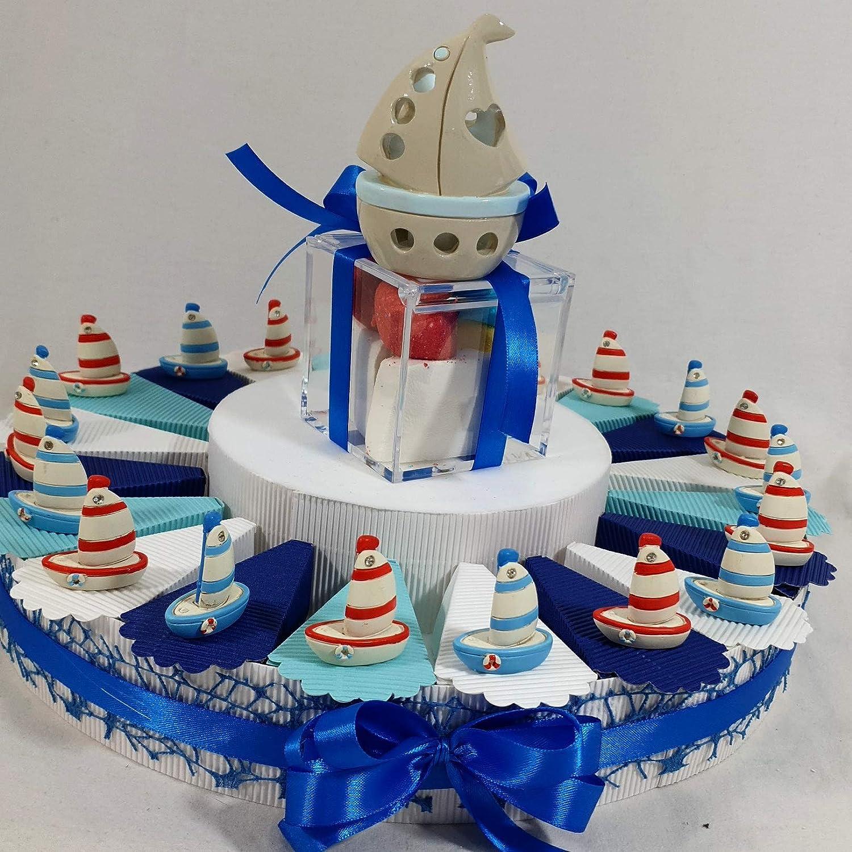 Bomboniere Mare Barca a Vela Battesimo Nascita - Torta 20 fette + 20 barchette + Confetti al Cioccolato in Ogni Fetta+ Centrale