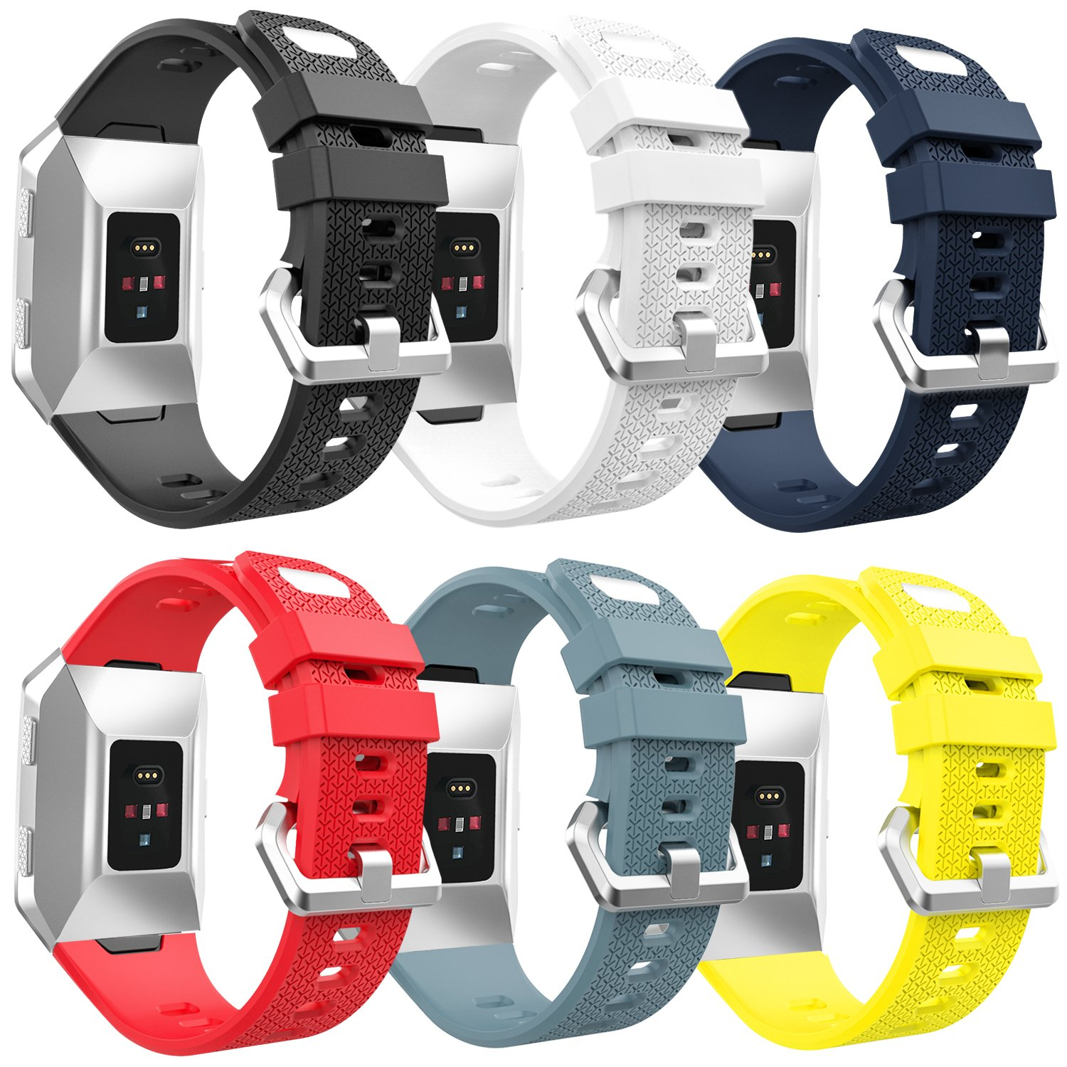 MoKo Fitbit Ionic Watch Band, [6 PACK] Soft Silicone Adjustable Replacement Sport Strap for Fitbit Ionic Smart Watch, Large Size 5.11''-8.66'' (130mm-220mm), 6PCS (Multi-Colors)