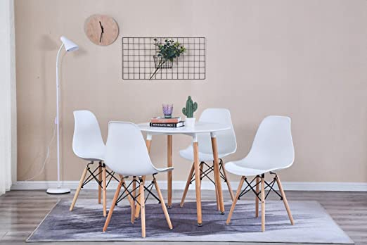 GroBKau Mesa de Comedor con 4 sillas, Moderna Mesa Redonda Blanca ...