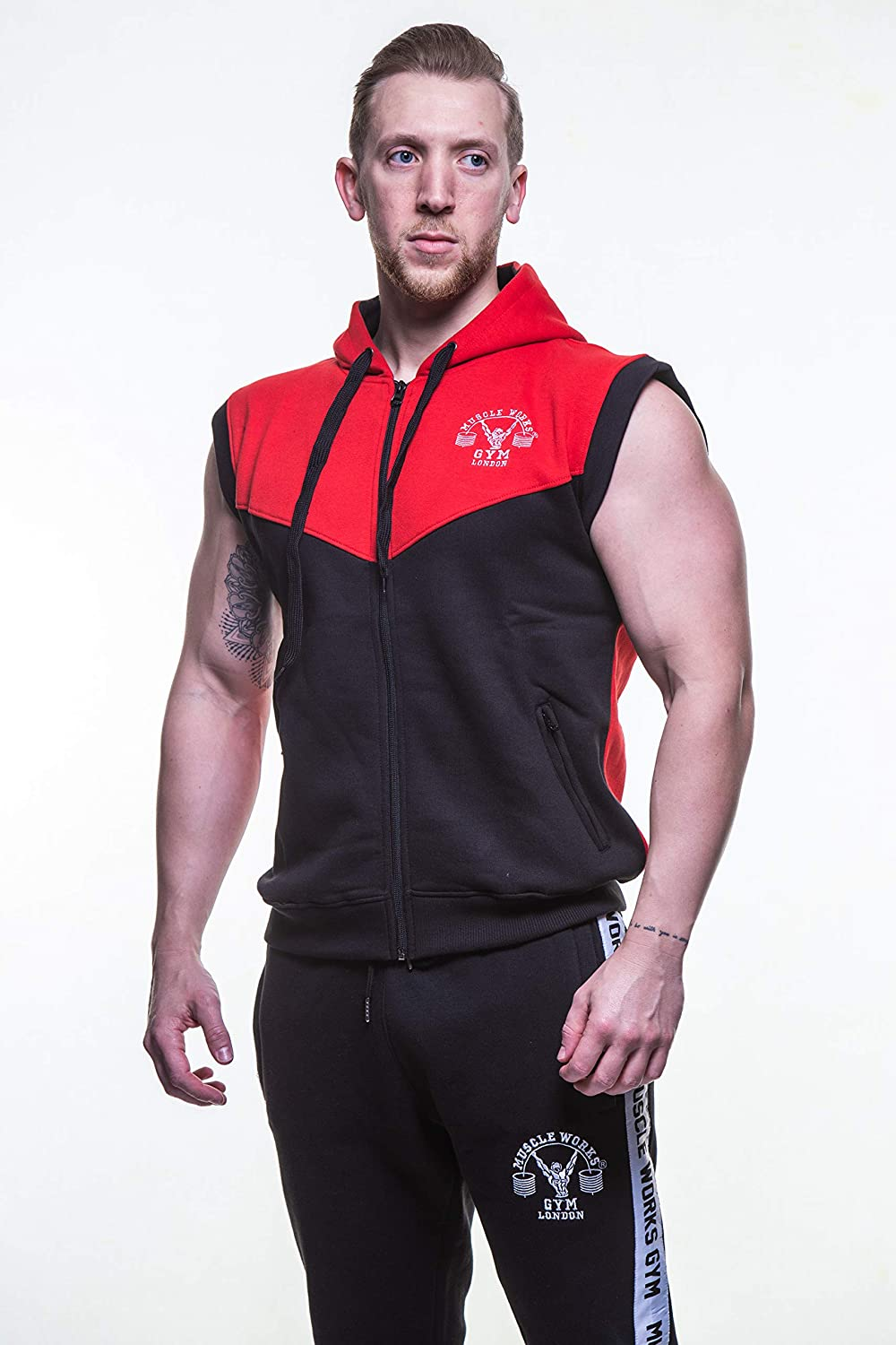 Muscle Works Gym Contrast Sleeveless Hoodie MMA Boxing Gym T Shirt Men BOXE Vest UFC Fleece Red Black