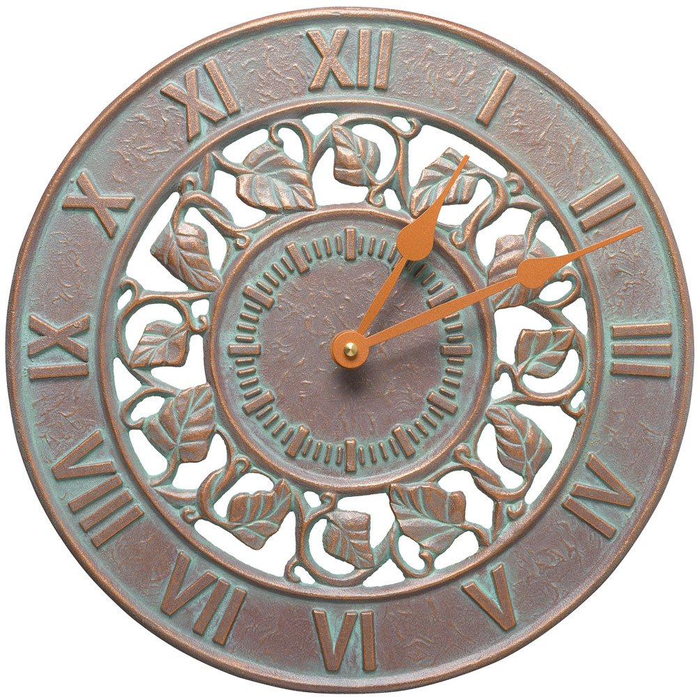 SKB family Outdoor Clock - Ivy Silhouette, 12'' x 12'' x 1.25'' x 4.5 lbs, Copper Verdi