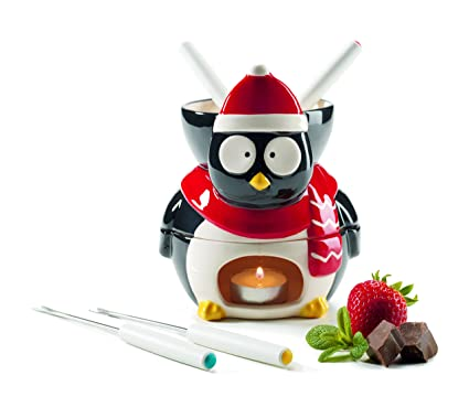 Mäser 931251 Chocolate Fondue Juego de 6 piezas en forma de pingüino, cerámica Fondue y