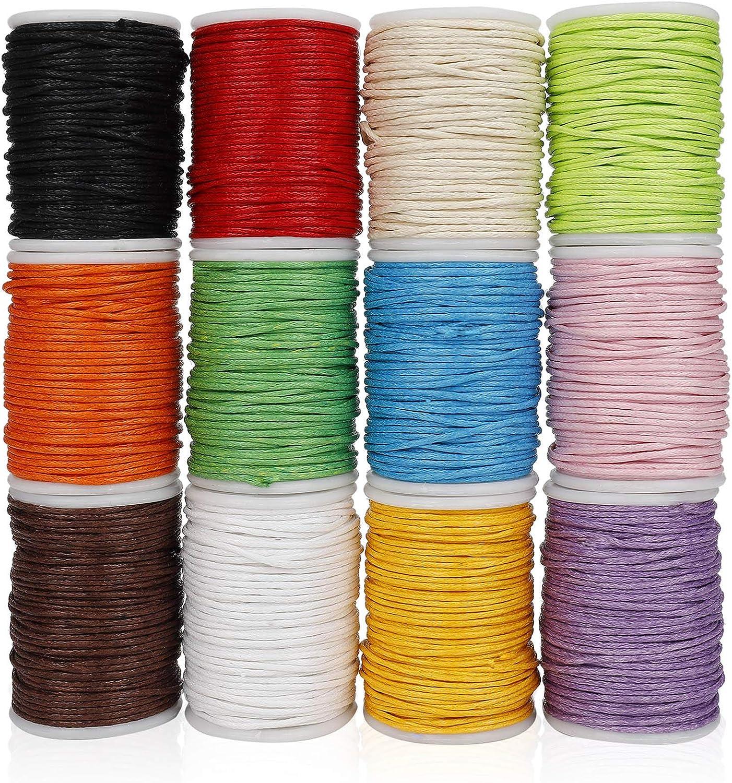 Cordón Encerado Hilo Cuerda Encerado Joyería Cordón Cable para DIY Collar Pulsera Abalorios 10m x 1mm 12 Rollos