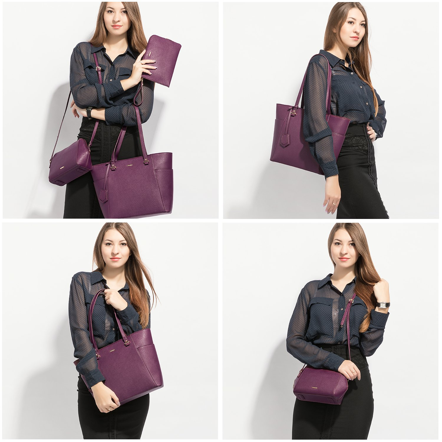 LOVEVOOK Women Purses and Handbags Chic Crossbody Bag Hobo 3pcs Large Capacity Purple by LOVEVOOK (Image #7)